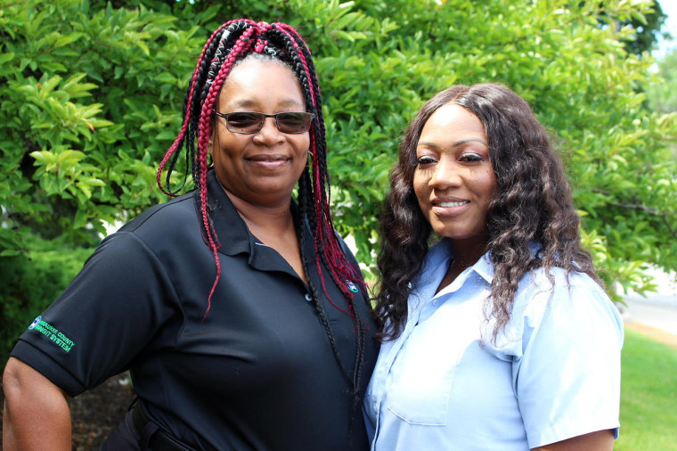 Milwaukee County Transit System bus drivers Cecilia Nation-Gardner and Cressida Neal