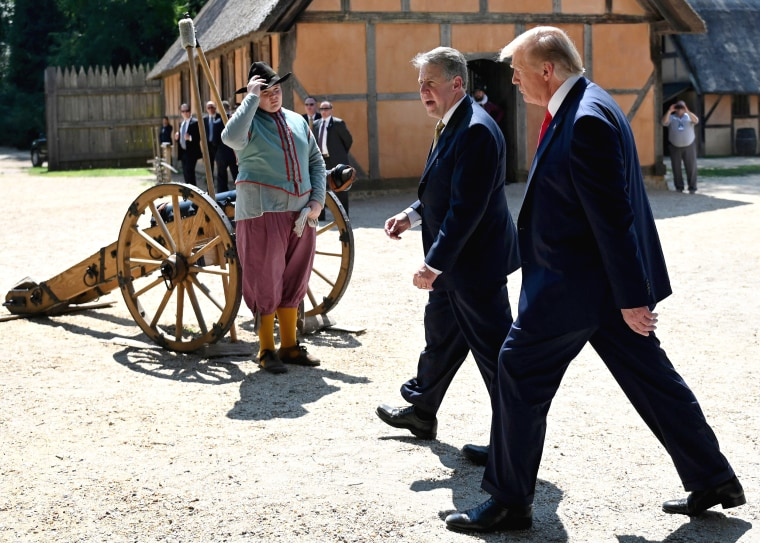 Image: President Donald Trump takes a tour of the James Fort Replica during the 400th Anniversary of the First Representative Legislative Assembly at Jamestown, Virginia, on July 30, 2019.