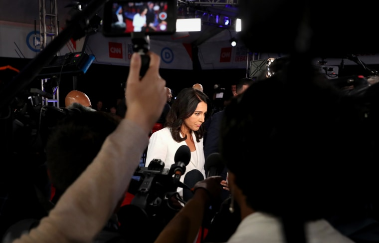 Image: Rep. Tulsi Gabbard, D-HI, speaks to the media after a Democratic presidential primary debate in Detroit on July 31, 2019.