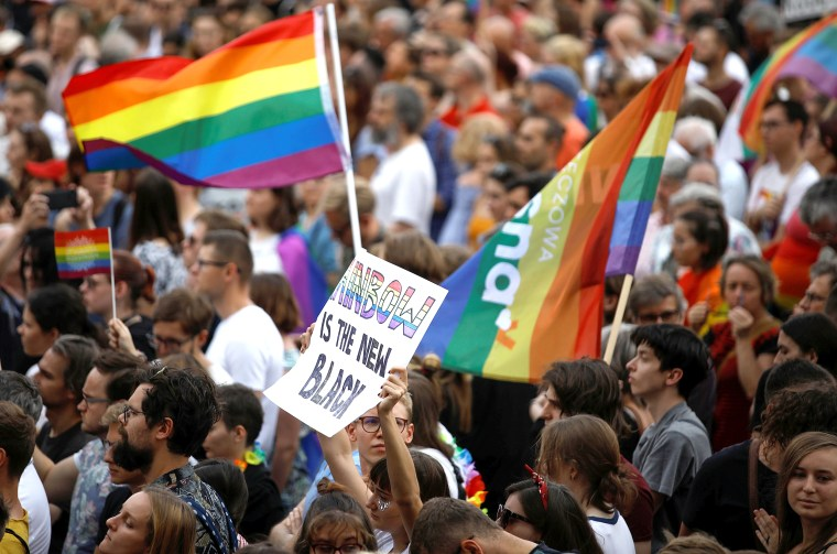 Image: Warsaw holds gathering against violence towards LGBT community in Bialystok