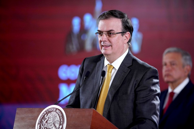 Image: Mexican Foreign Minister Marcelo Ebrard attends a press conference in Mexico City on July 22, 2019.