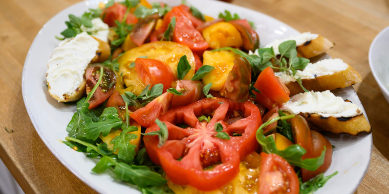 Anne Burrell's Chicken Milanese with Escarole Salad + Heirloom Tomato Salad + Olive Oil Cake