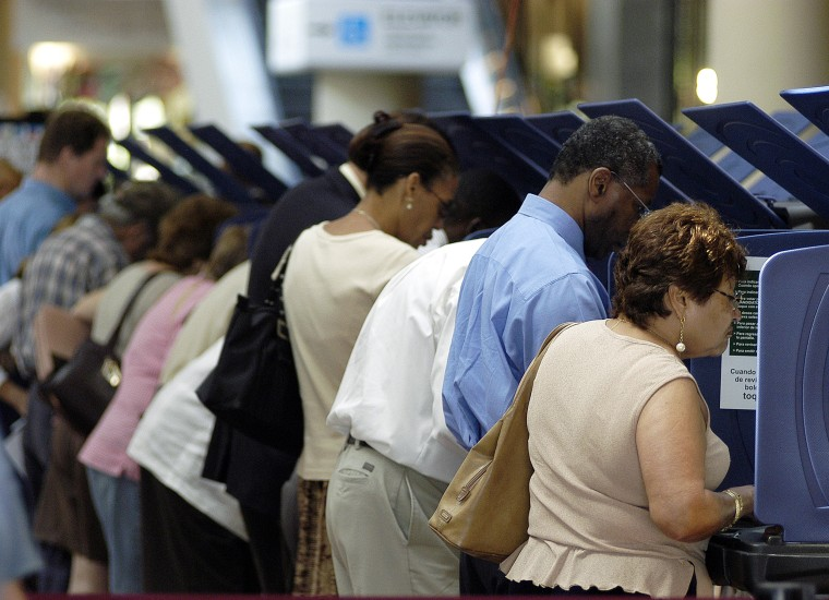 image: Latino Voters Go To The Polls Early In Florida