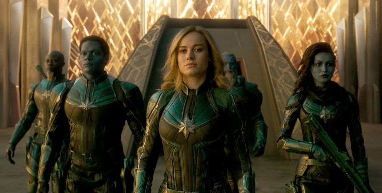 Djimon Hounsou, Algenis Perez Soto, Brie Larson, Rune Temte and Gemma Chan in Captain Marvel.