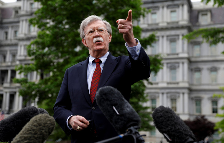 Image: National Security Adviser John Bolton speaks to reporters at the White House on May 1, 2019.