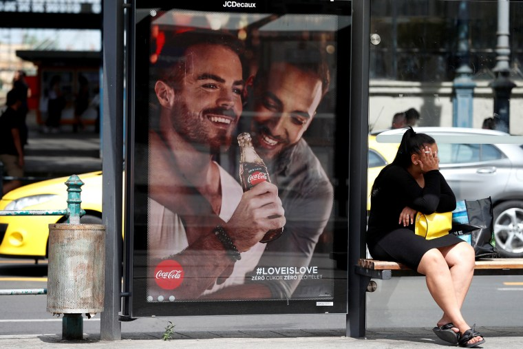 Image: A Coca-Cola campaign promoting gay acceptance in Budapest, Hungary, on Aug. 5, 2019.