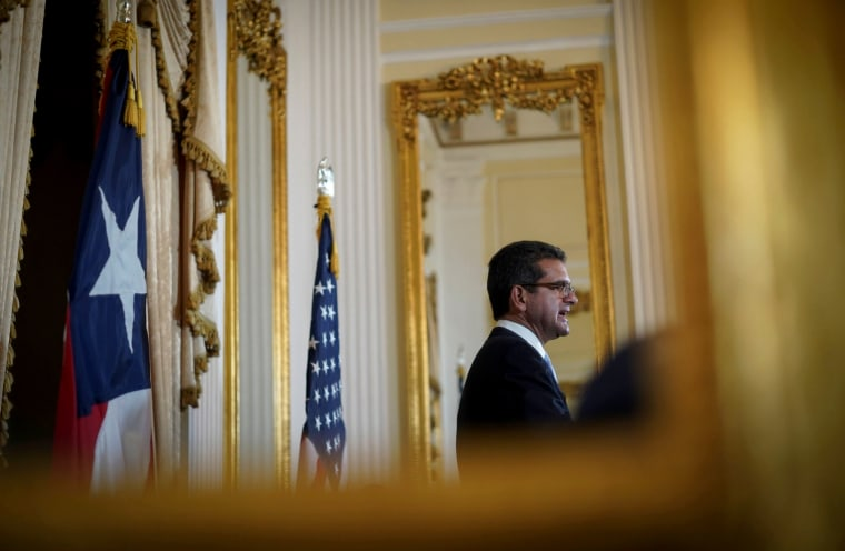 Image: Pedro Pierluisi speaks at a press conference after being sworn in as Governor of Puerto Rico in San Juan on Aug. 2, 2019.