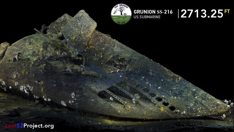 A 3D image of the newly discovered bow of the USS Grunion.