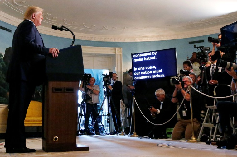 Image: President Donald Trump speaks about the shootings in El Paso and Dayton at the White House on Aug. 5, 2019.