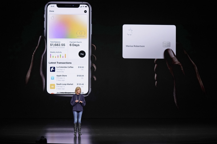 Jennifer Bailey, vice president of Apple Pay, speaks about the Apple Card at the Steve Jobs Theater during an event to announce new products in Cupertino, California on March 25, 2019.