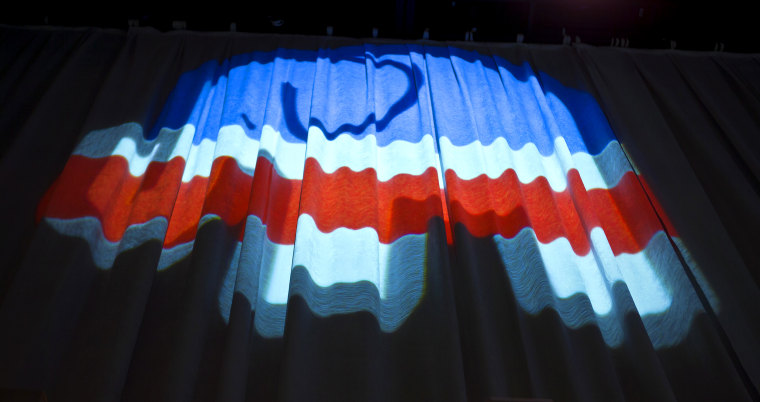 Image: A Republican elephant is projected at a presidential debate in Las Vegas in 2015.