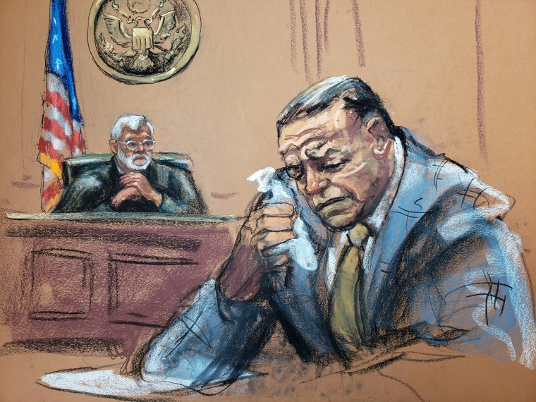 Image: Cesar Sayoc weeps during sentencing in this courtroom sketch at the federal court in Manhattan