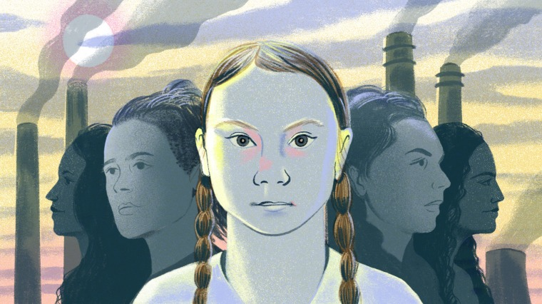 Illustration of Greta Thunberg surrounded by other young climate activists, with smoke stacks in the distance.