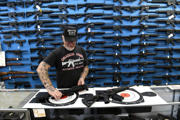 "Mel \""Dragonman\"" Bernstein, owner of Dragonman Gun Shop in Colorado Springs, Co."