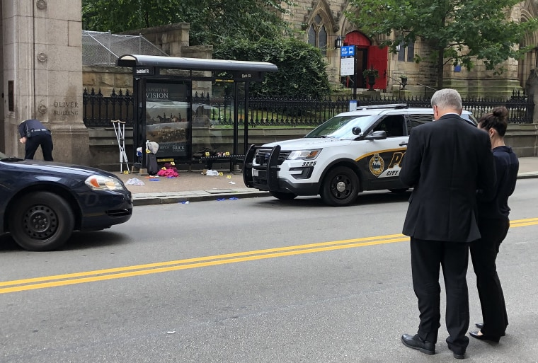 Police responded to two stabbings at a Port Authority bus stop in downtown Pittsburgh on Aug. 8, 2019.