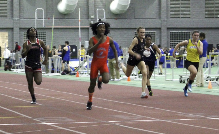 Bloomfield High School transgender athlete Terry Miller, second from left, wins the final of the 55-meter dash over transgender athlete Andraya Yearwood, far left, and other runners in the Connecticut girls Class S indoor track meet at Hillhouse High School in New Haven, Connecticut Feb. 7, 2019.
