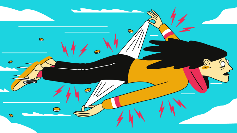 Illustration of stressed out woman flying through the air as coins escape her pockets.