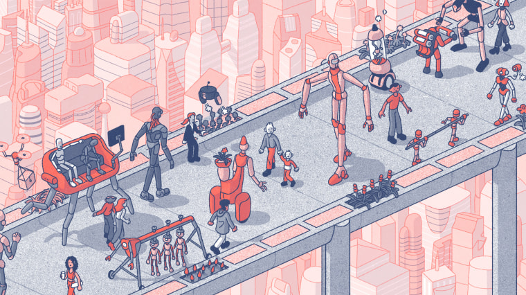 Illustration of robots and human walking together in a futuristic city.