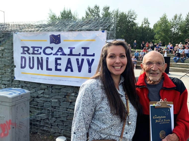 Meda DeWitt, Recall Dunleavy chair, and Vic Fischer, the last living member of Alaska's Constitutional Convention, at the Aug. 1 recall event kickoff in Anchorage, Alaska.