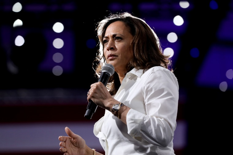 Image: Sen. Kamala Harris, D-Calif., speaks at the Presidential Gun Sense Forum in Des Moines, Iowa, on Aug. 10, 2019.