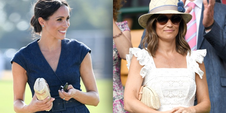 Meghan, Duchess of Sussex attends the Sentebale ISPS Handa Polo Cup at the Royal County of Berkshire Polo Club on July 26, 2018 in Windsor, England. (Right) Pippa Middleton attends day four of the Wimbledon Tennis Championships at the All England Lawn Tennis and Croquet Club on July 5, 2018 in London, England.
