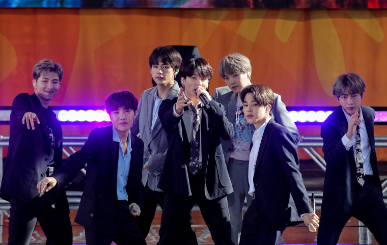 Members of K-Pop band, BTS perform on ABC's 'Good Morning America' show in Central Park in New York