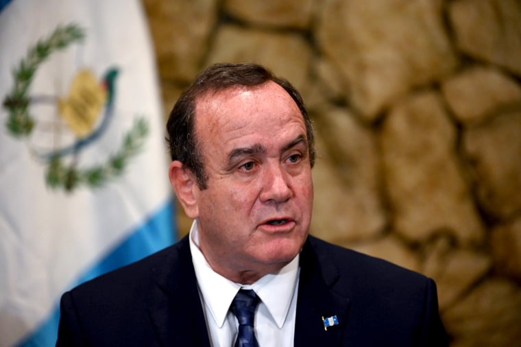 Image: Alejandro Giammattei speaks at a press conference in Guatemala City on July 31, 2019.