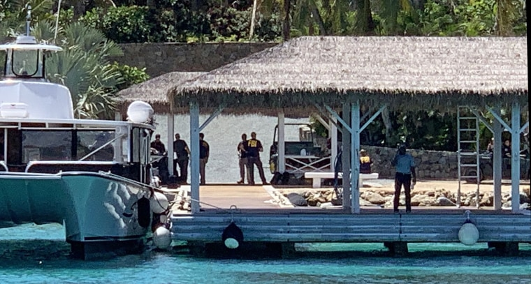 FBI agents on Little St. James Island, which was purchased by Jeffrey Epstein in 1998.