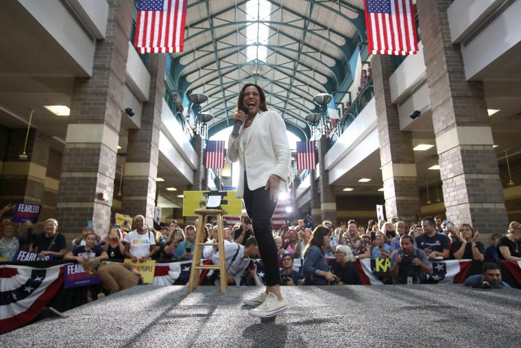 Image: Presidential Candidate Kamala Harris Takes Campaign Bus Trip Across Iowa