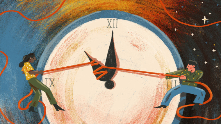 Illustration of two people pulling on strings that control the minute hand of an analog clock.