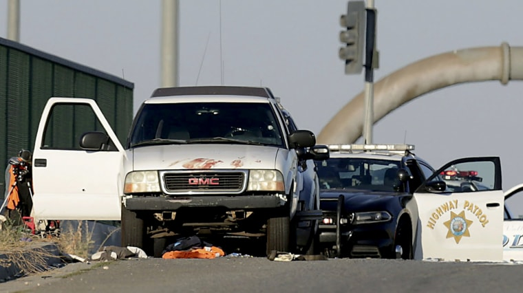 Image: Authorities investigate the scene of a fatal shooting on the Eastridge Avenue overpass on Interstate 216 in Riverside, Calif., on Aug. 12, 2019.