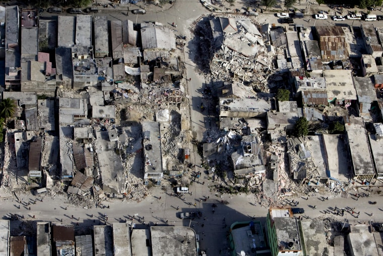 Image: Damaged buildings after a 7.0 magnitude earthquake in Port-au-Prince, Haiti, on Jan. 13, 2010.