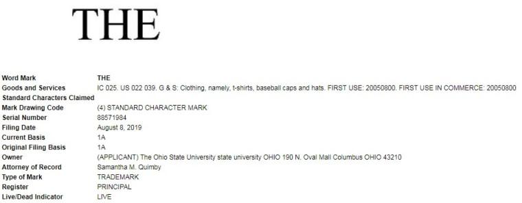Image; THE Trademark, Ohio State University