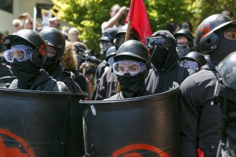 Counter-protesters prepare to clash with Patriot Prayer protesters during a rally in Portland, Ore., on Aug. 4, 2018.