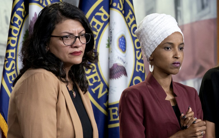 Image: Rep. Rashida Tlaib, D-Mich., and Rep Ilhan Omar, D-Minn., at a news conference on Capitol Hill on July 15, 2018.