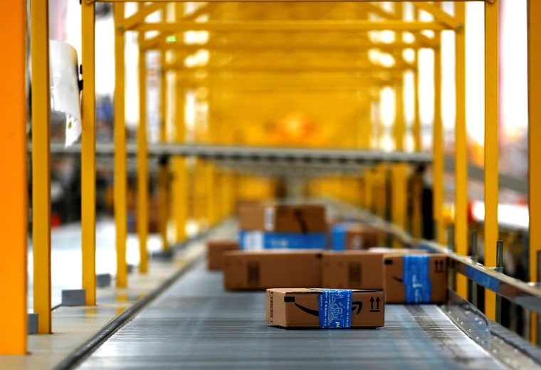 Image: Amazon packages are seen at the new Amazon warehouse during its opening announcement on the outskirts of Mexico City