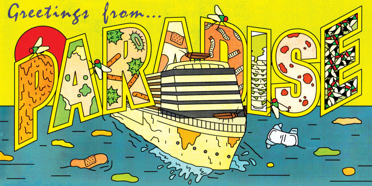 "Illustration of a gross looking cruise ship in the style of a vintage ""Greetings From..."" postcard surrounded by dirty water."