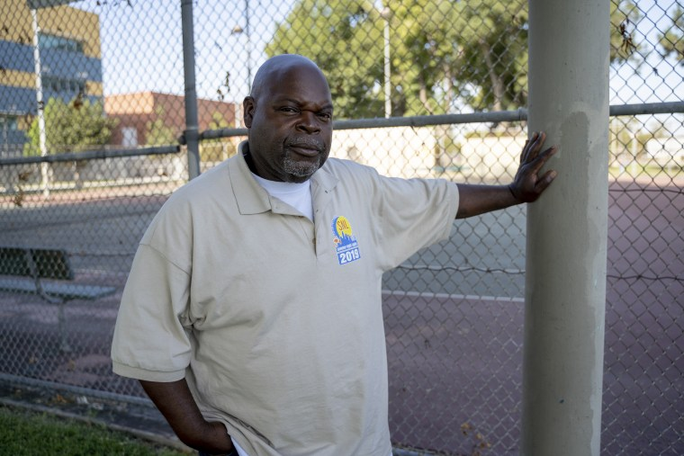 Larry Sanders, 58, a gang interventionist contracted by the city of Los Angeles, was stopped by the LAPD's gang task where he works and added to the city's gang database.