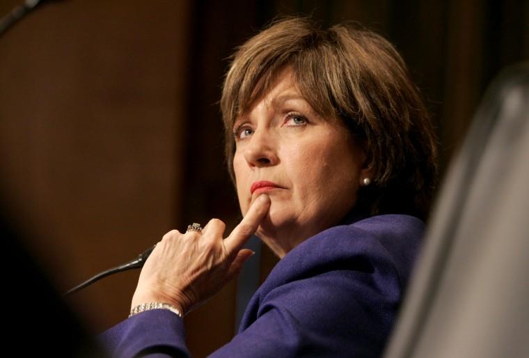 Imae: Gov. Kathleen Blanco testifies before a Senate hearing in 2005.