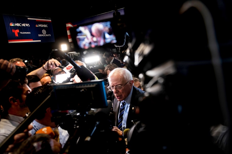 Image: Sen. Bernie Sanders, I-VT, speaks to the press after a Democratic presidential primary debate in Miami on June 27, 2019.