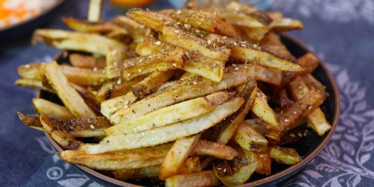 Ayesha Nurdjaja's Chicken Shawarma + Za'atar Fries + Whipped Feta & Pistachio