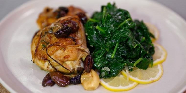Valerie Bertinelli's Garlic Glove Chicken Thighs + Brown Butter Sauteed Spinach with Lemon