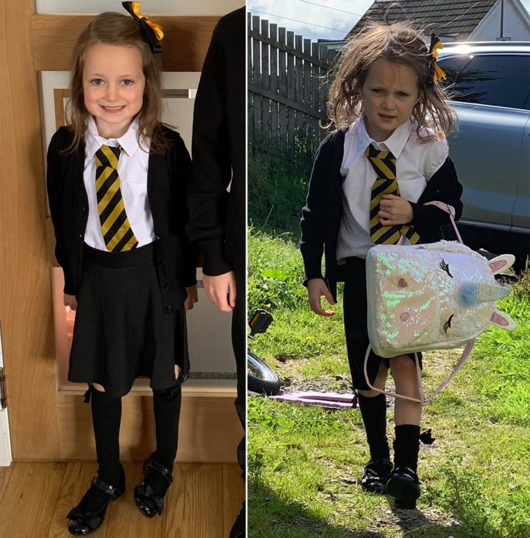Lucie before and after her first day of school.
