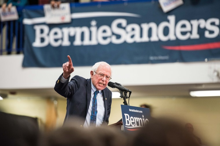 Image: Sen. Bernie Sanders, I-VT, addresses the crowd at a campaign event in South Carolina on March 14, 2019.