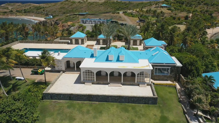 The main house apart of the Epstein compound on Little St. James in the Caribbean.