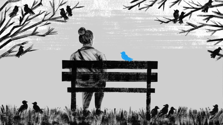 Illustration of woman sitting on a park bench while a bird shaped like the Twitter logo rests next to her.