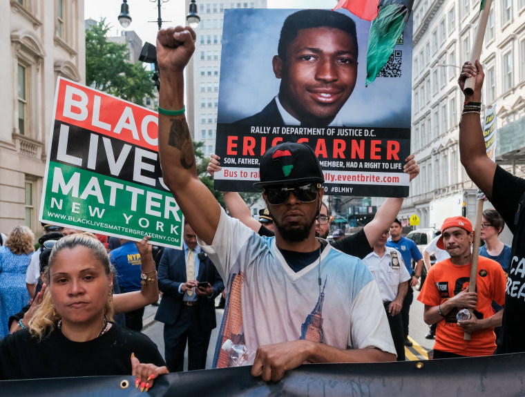 Image: Protesters march and rally on the fifth anniversary of the death of Eric Garner in New York