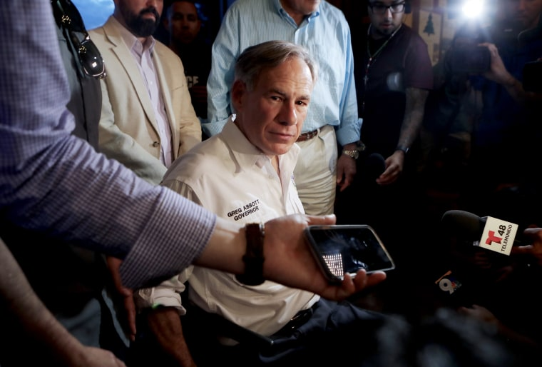 Image: Texas Governor Greg Abbott speaks to the media in El Paso, Texas, on Aug. 3, 2019.