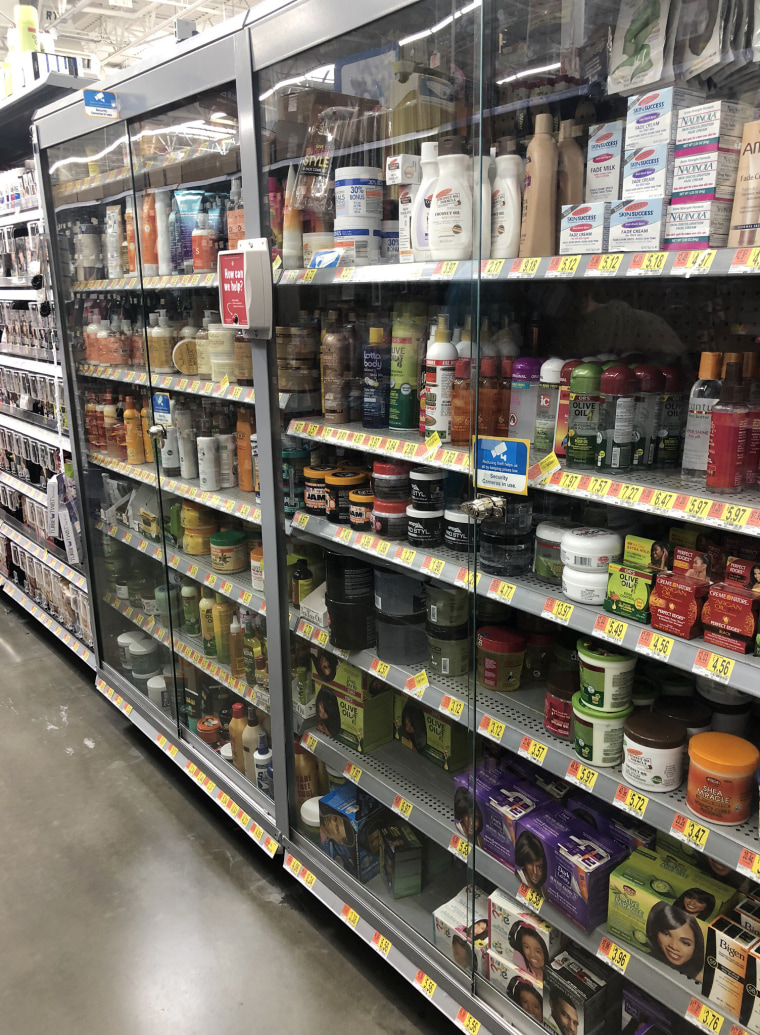Black beauty and hair products in locked cases inside a Walmart in Ontario, California.