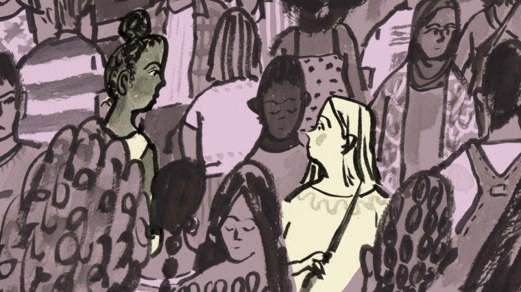Illustration of a white woman and a black woman looking at each other in a group of people.